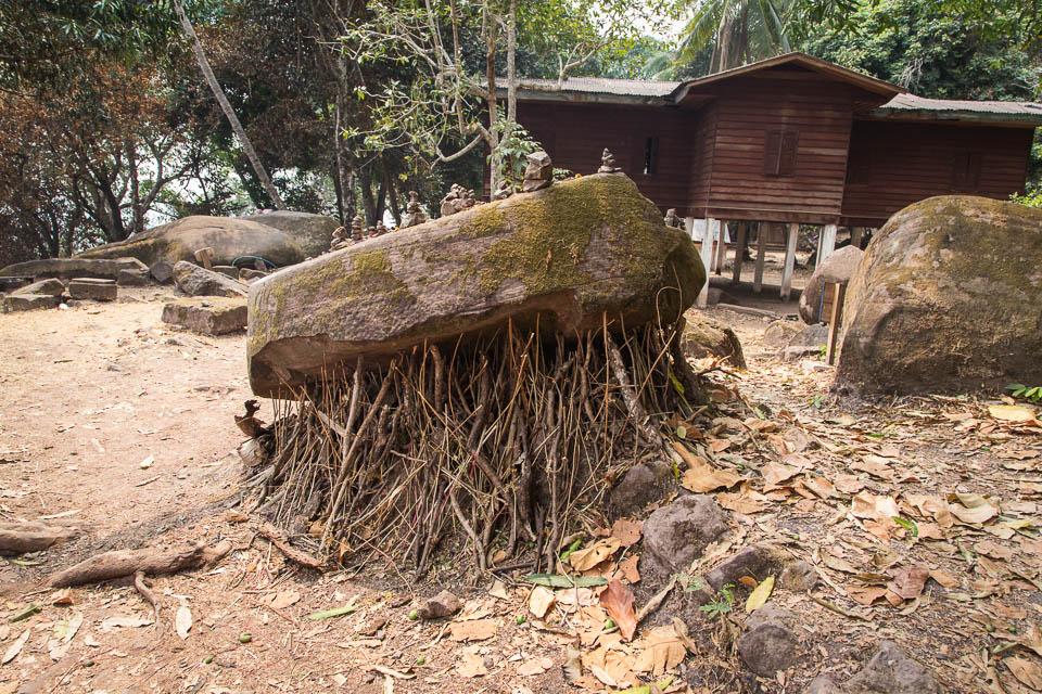 Piedra en troncos.